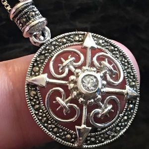 Vintage 925 marcasite medieval style pendant/chain